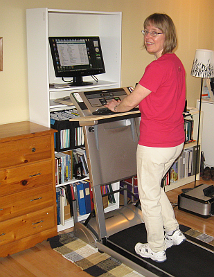 Sharon Writing at the Treadmill