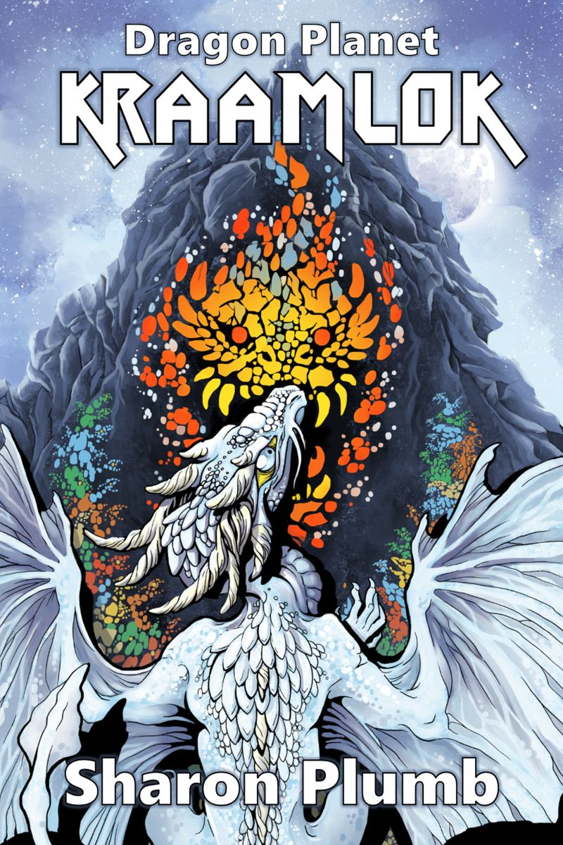 cover of Kraamlok, by Sharon Plumb. Image shows a white dragon recoiling from a mosaic of a red monster on a cliff face.